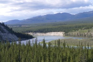 Many islands and steep banks in the mighty Yukon.
